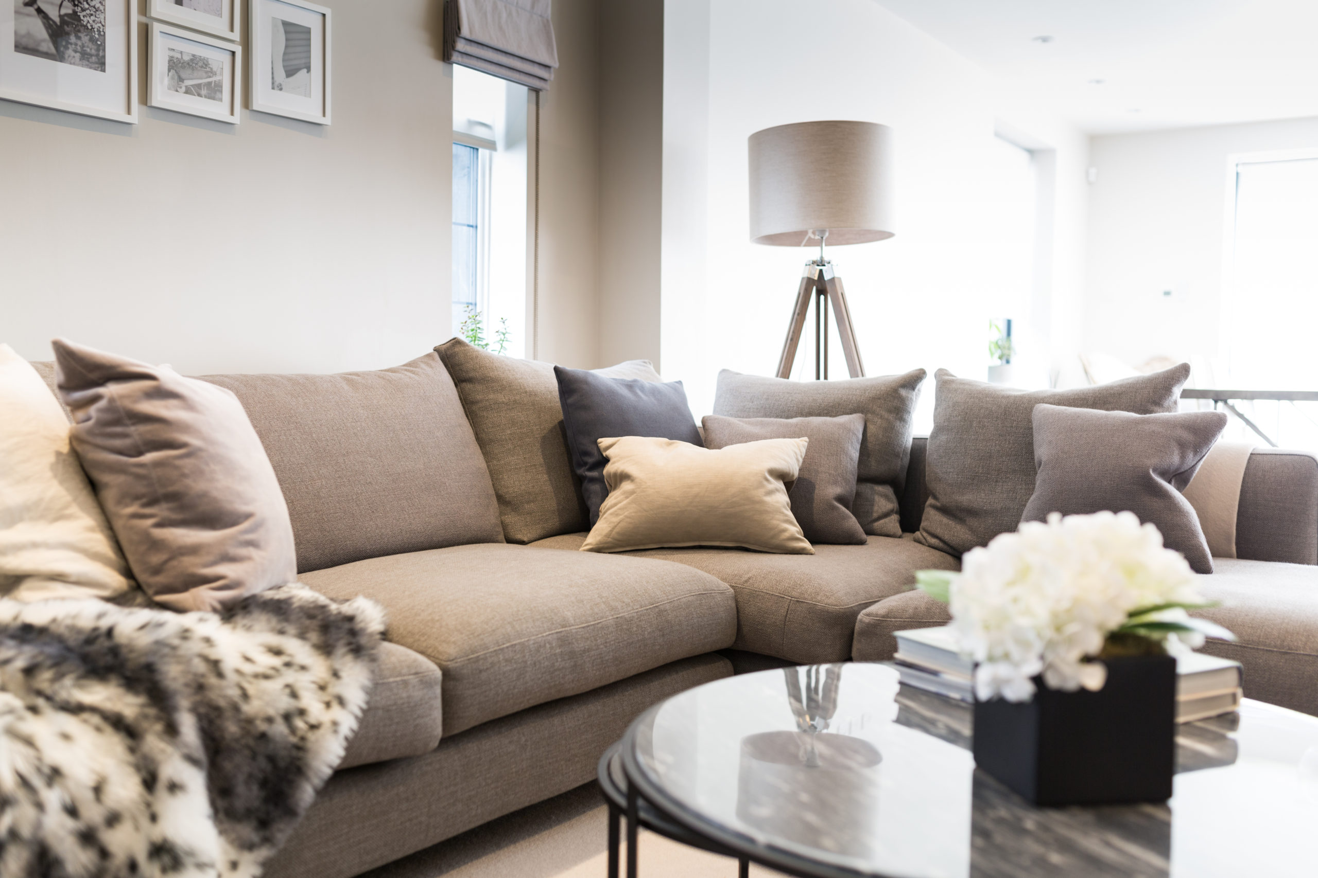 sofa and lounge area of open plan living space at interiors photoshoot for London/Kent designer IG interiors