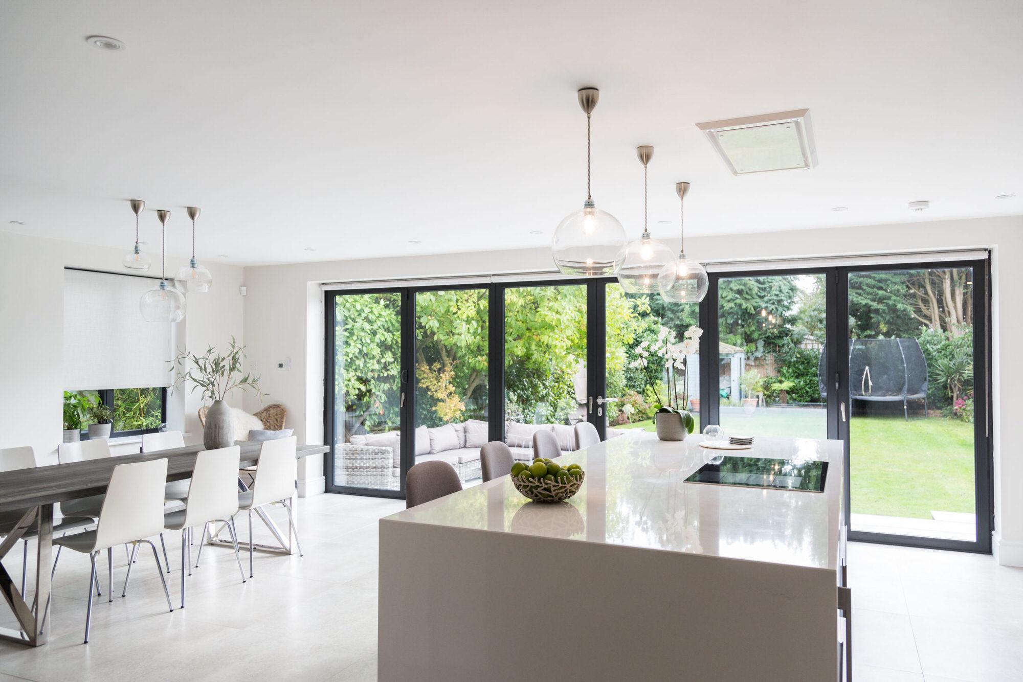 large open plan kitchen featuring island taken at interiors photoshoot for IG interior design London Kent