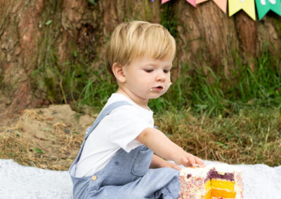 portrait image of a little boy with his rainbow cakesmash for his 1st birthday at his Bexley shoot