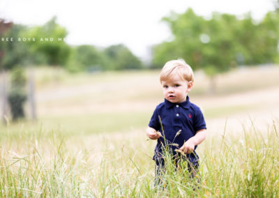 little boy in long grass at Lesness Abbey Ruins in Bexley at his family photoshoot