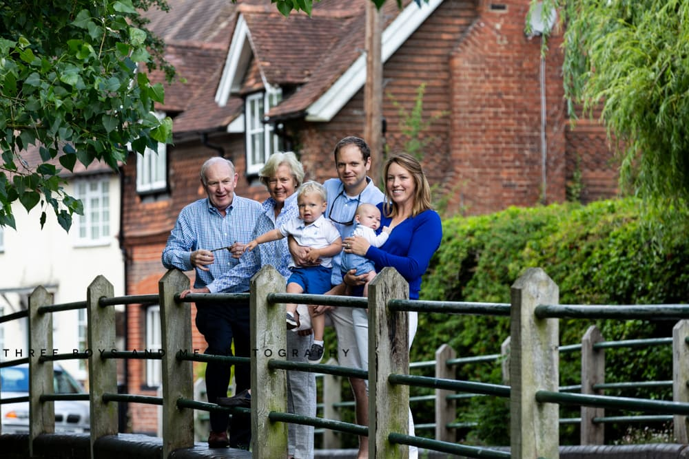 image of extended family with grandparents and newborn baby in Shoreham Kent on family photoshoot
