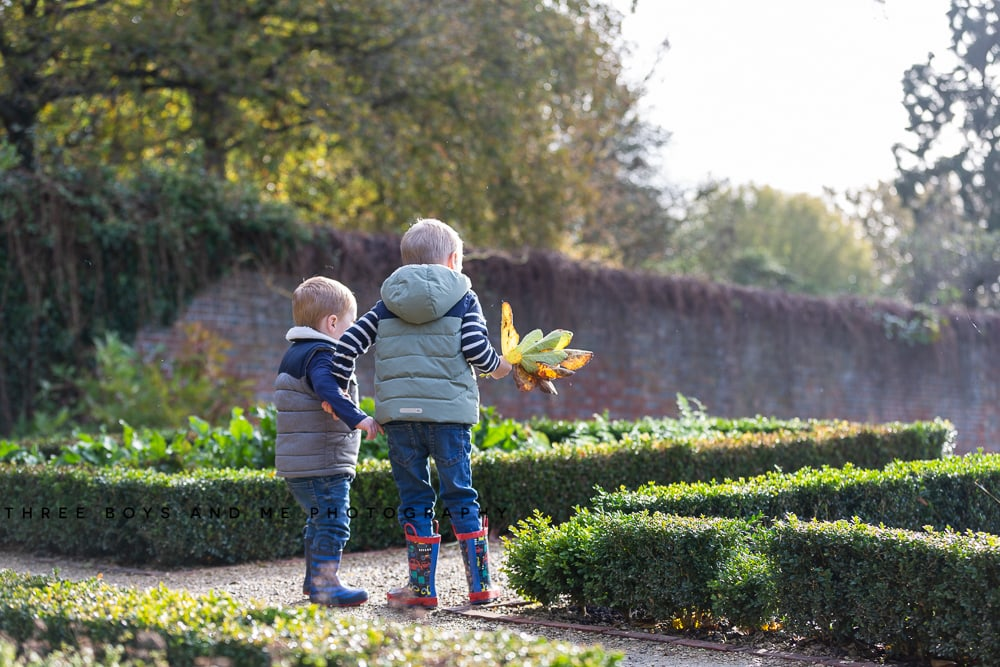 two boys holding autumn leaves wearing wellies at their autumn family photoshoot at Riverhill Himalayan Gardens Kent