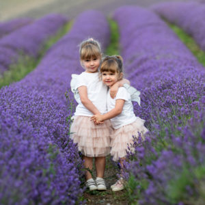 two sisters cuddling in the lavender fields at castle farm shoreham on their Kent family photoshoot