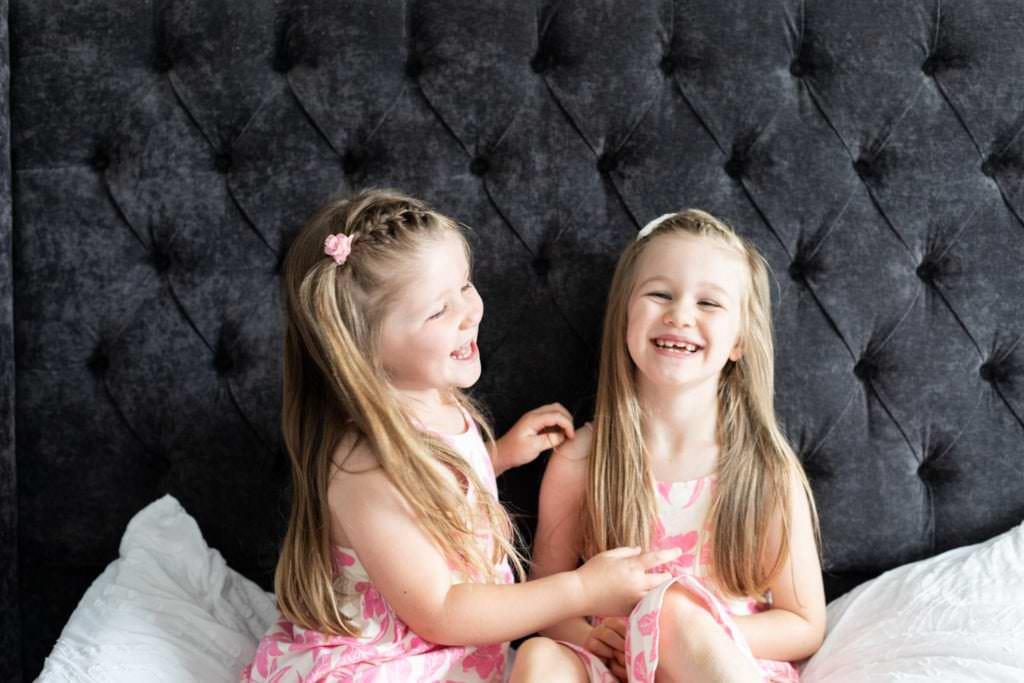 little girls at their family newborn shoot in sevenoaks